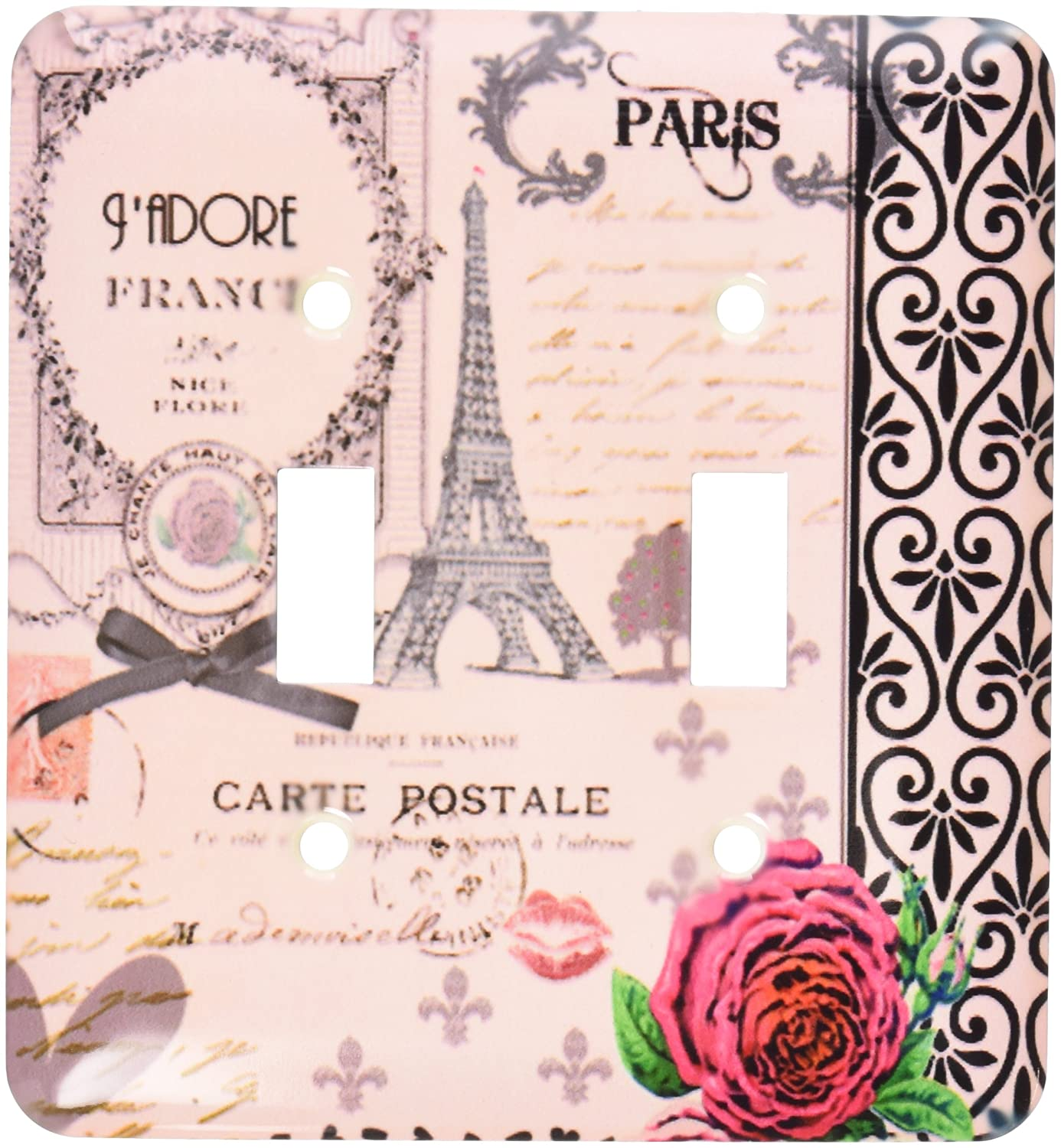 3dRose lsp/_76593/_2 Stylish Vintage Pink Paris Collage Art Double Toggle Switch