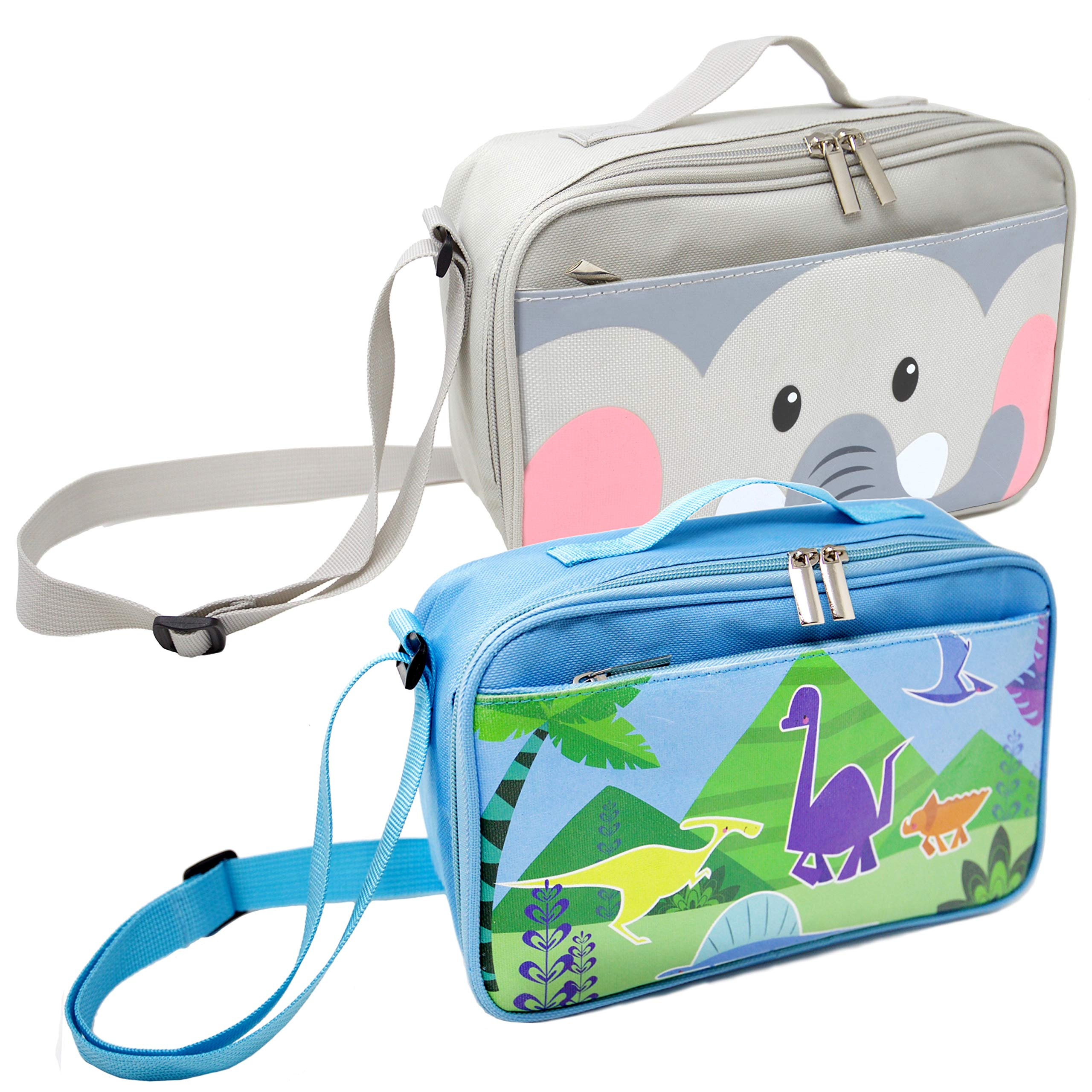 2 Pack Lunch Bags for Kids and Toddlers, Insulated and Water-Resistant Lunch Bag, Reusable Cooler Bags with Adjustable Strap, 10'' x 7'' x 3.5''