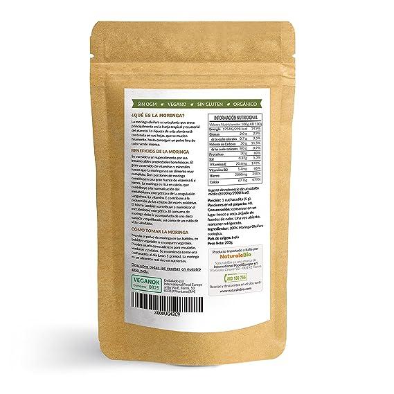 Moringa Oleifera Ecologica en Polvo [Calidad Premium] de 200g   Moringa Powder Organica, 100% Bio, Natural y Pura   Hojas Recogidas de la Planta de Moringa ...