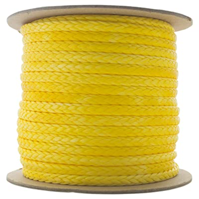 """TOUGH-GRID New On - 100Ft 5,000lb Ultra-Cord 3/16"""" - 15X Stronger Than Steel & It Floats! for Boating, Camping & Towing - Free Shrink Tube - 100%""""UHMWPE - Made in USA. 100Ft. - Yellow: Sports & Outdoors"""