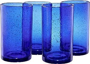 Artland Iris Highball Glasses, Cobalt Blue, Set of 4