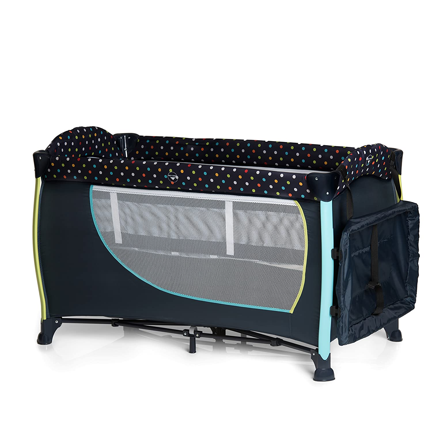 Hauck Sleep 'n Play Center II Travel Cot with folding mattress, bassinet and changing top, 120 x 60cm, Forest Fun, Grey Hauck Fun for Kids Ltd H-60058-EN-000-000