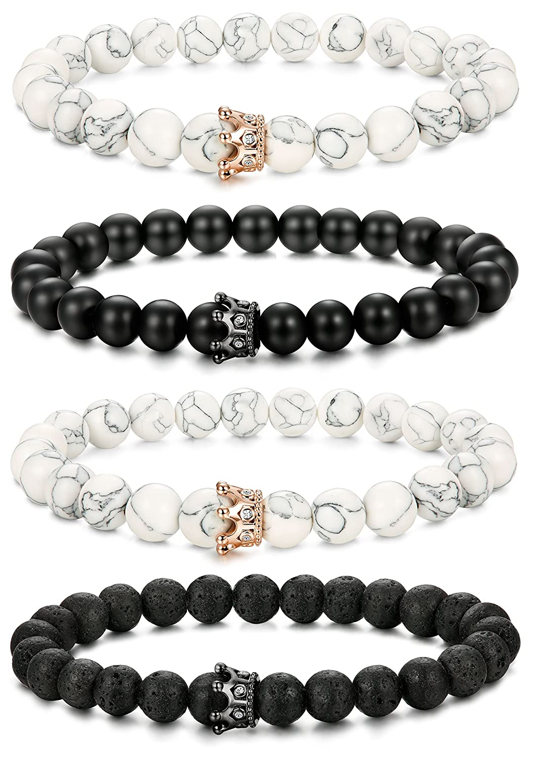 LOLIAS 2-4 Pcs Bead Couples Bracelet for Men Women Crown Queen Bracelet Black Matte Agate & White Howlite Bracelet Adjustable 8MM Beads 4HGB-092-4