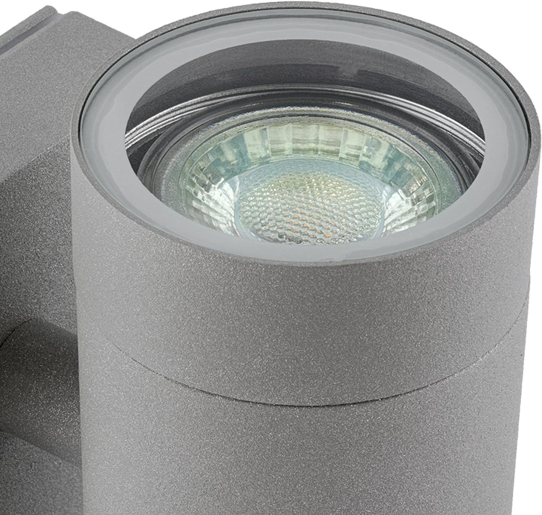 LED Wandleuchte anthrazit GU10 inklusive 2x LED Leuchtmittel 3W neutralwei/ß 230V Graue Wandlampe Up /& Down f/ür Au/ßen IP54