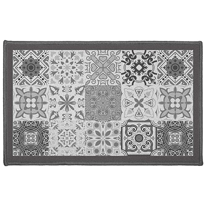Déco Tapis Tapis Déco Rectangle, Polyester, Gris, 50 x 80 cm