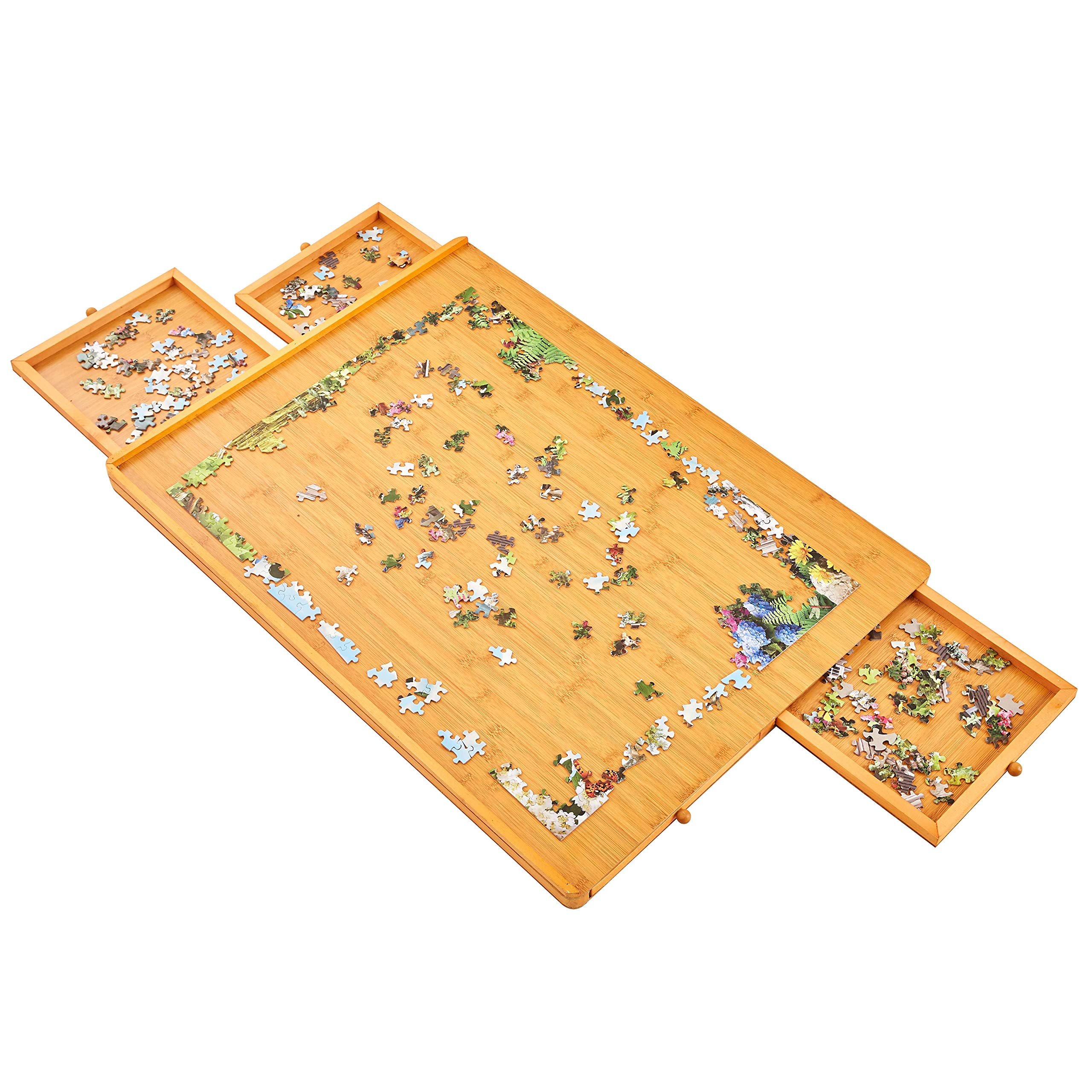 30''×22'' for Maximum 1000 Pieces Puzzles, Puzzle Board, Puzzle Table, Puzzle Tables for Adults, Puzzle Boards and Storage, Jigsaw Puzzle Table, Puzzle Tray, Smooth Coating, Bamboo Finish by Rose Home Fashion