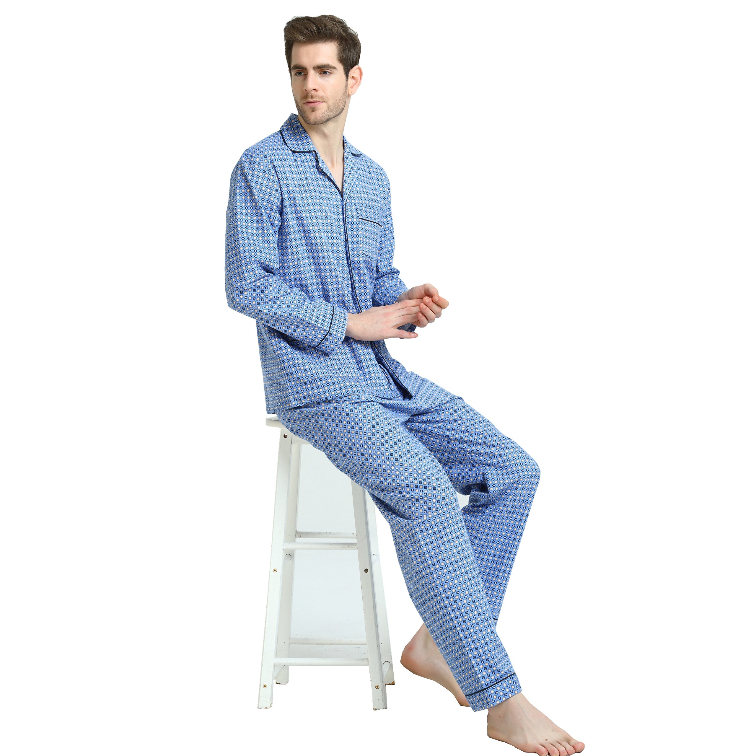 Cotton Sleepwear/Loungewear Sets for Men,100% Fleece Warm Pj Top and Bottom by GLOBAL (Image #6)