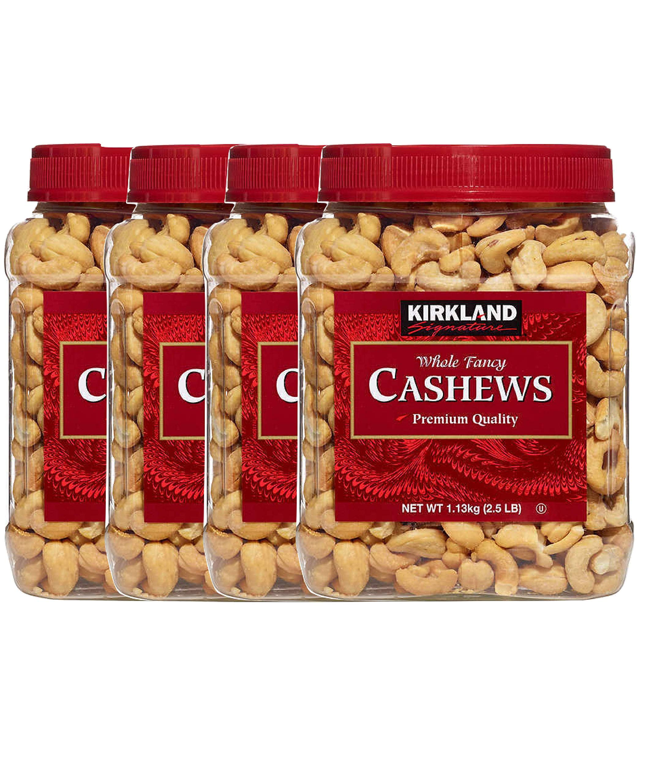 Kirkland Signature Whole Fancy Cashews Salted and Roasted (Pack of 4)