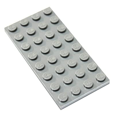 LEGO Parts and Pieces: Light Gray (Medium Stone Grey) 4x8 Plate x4: Toys & Games