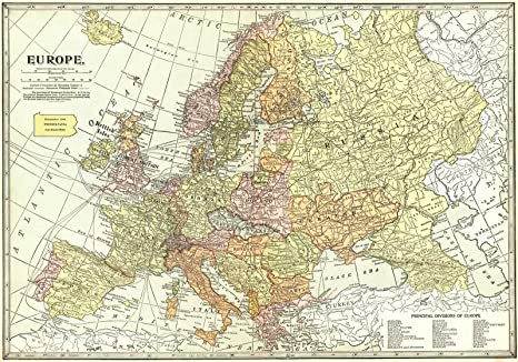 Amazon|1922年の歴史地図 ヨーロッパ地理出版社 35in x 24in ...