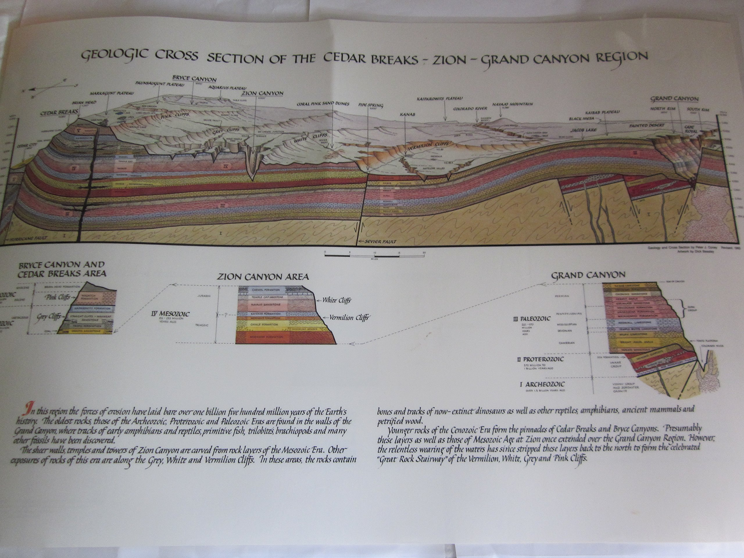 Map, 2-Sided, 1) GEOLOGIC CROSS SECTION OF THE GRAND CANYON--SAN ...