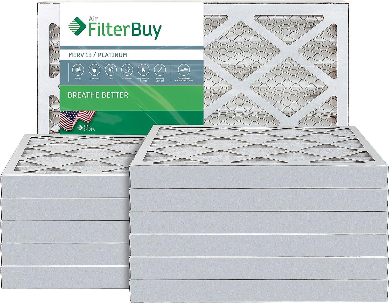 FilterBuy 16x25x2 MERV 13 Pleated AC Furnace Air Filter, (Pack of 12 Filters), 16x25x2 – Platinum
