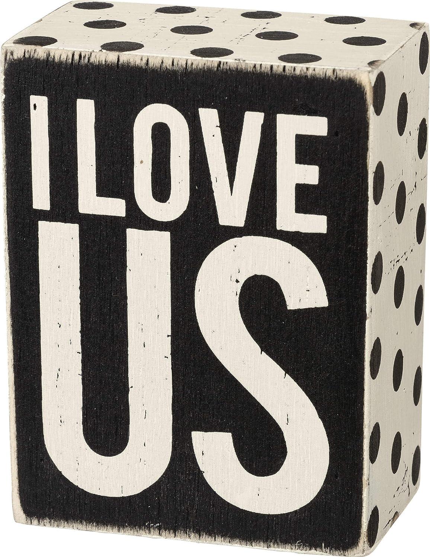 "Primitives by Kathy 21460 Polka Dot Trimmed Box Sign, 3"" x 4"", I Love Us"