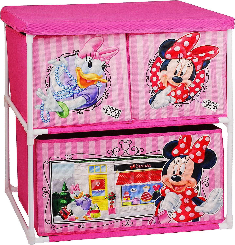alles-meine.de GmbH Kinderregal mit 3 Aufbewahrungsboxen Minnie Mouse Disney .. Kommode // Regal // Kinderm/öbel f/ür Blumen inkl f/ür Kinder Name 60 cm Boxen aus Stoff