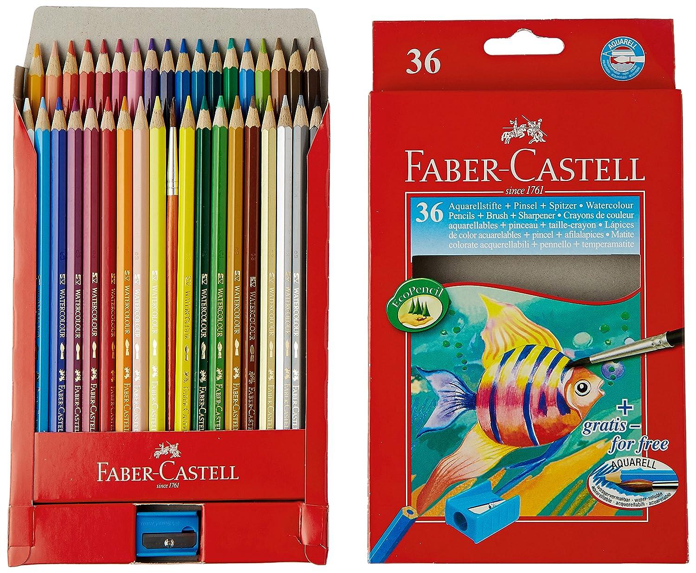 Faber Castell 114448 - Estuche de cartón con 48 ecolápices acuarelables de colores y pincel