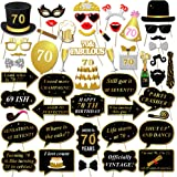 Konsait 70th Birthday Photo Booth Props, 70th Birthday Celebrations Party Photo Props Glasses Mask on Stick for Man Woman Black and Gold 70th Birthday Decorations Supplies Favors Gift (50Counts)
