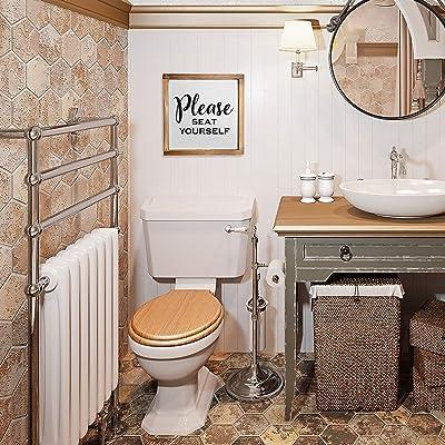 Shelf Decor Farmhouse Bathroom Bathroom Sign Please Seat Yourself Half Bathroom Sign Farmhouse Bathroom Decor Funny Bathroom Sign