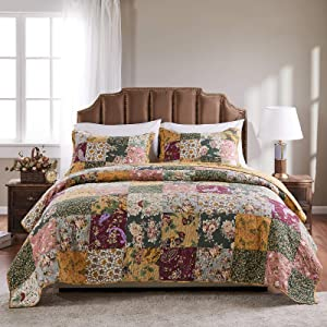 Greenland Home Antique Chic 100% Cotton Authentic Patchwork Quilt Set, Full/Queen