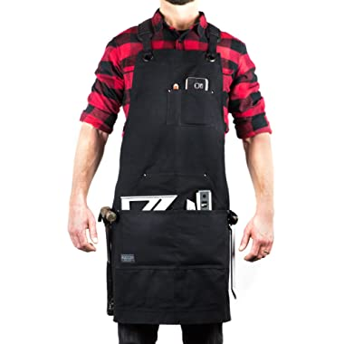 Hudson Durable Goods - Deluxe Edition - Waxed Canvas Tool Apron - Upgraded with Padded Straps, Quick Release Buckle & Dual Hammer Loops, Adjustable M to XXL