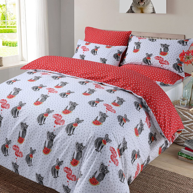 Dreamscene Koala Melon Duvet Cover with Pillowcase Bedding Set Animal Print Red Grey White, Double KOARE02