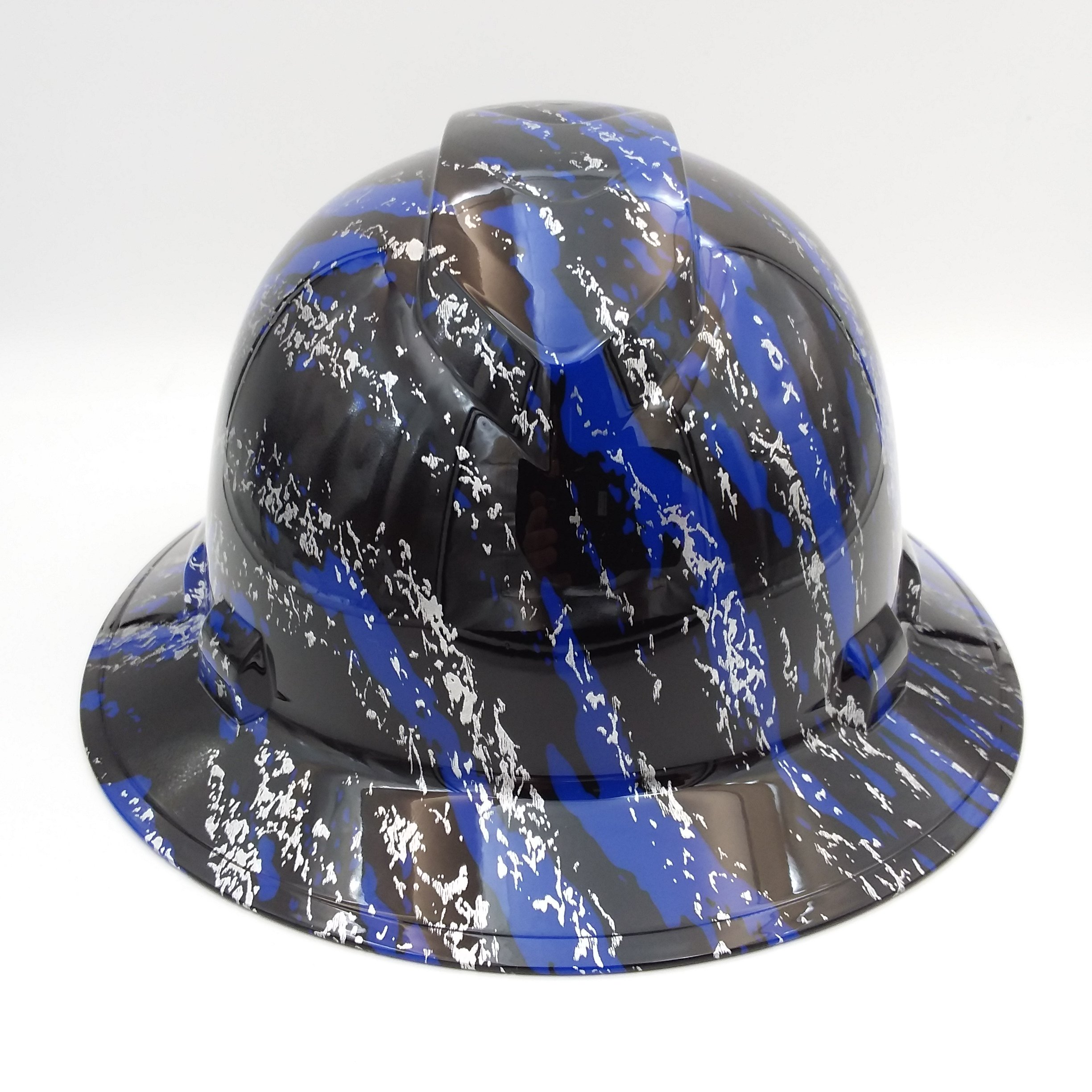 Wet Works Imaging Customized Pyramex Full Brim Blue Urban Camo Hard Hat With Ratcheting Suspension