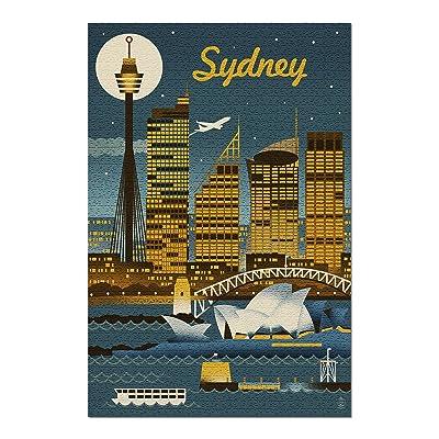 Sydney, Australia - Retro Skyline (Premium 1000 Piece Jigsaw Puzzle for Adults, 20x30, Made in USA!): Toys & Games