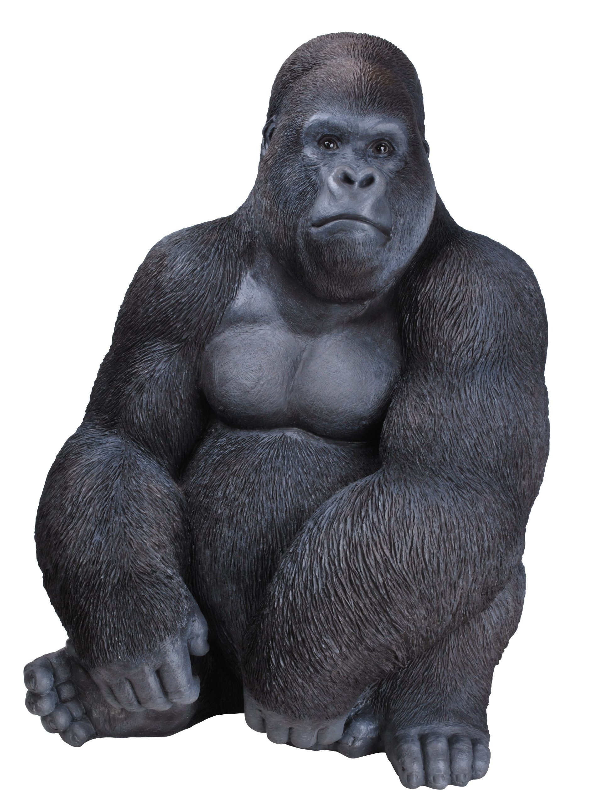 Gorilla sculpture Resin Large Detailed Garden Ornament 54cm Silver Back