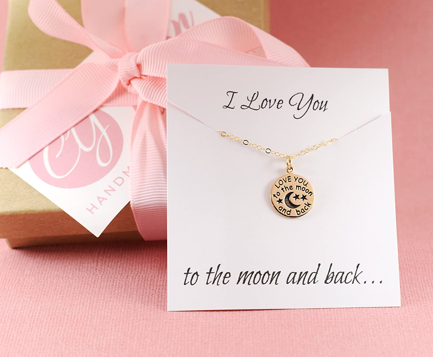 Amazon.com: I Love You To The Moon and Back Necklace - 14k Gold Fill ...