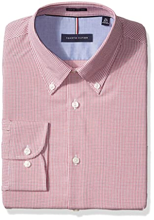 2a53f83d Tommy Hilfiger Men's Dress Shirts Non Iron Slim Fit Check Buttondown Collar  at Amazon Men's Clothing store: