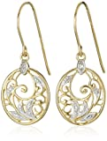 Amazon Price History for:18k Yellow Gold and Rhodium Plated Sterling Silver Diamond-Accent Floral Dangle Earrings