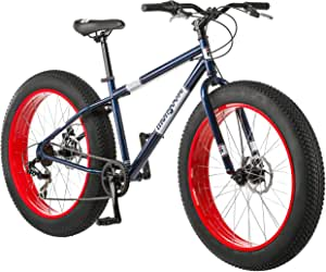 Mongoose Dolomite Mens Fat Tire Mountain Bike, 26-Inch Wheels, 4-Inch Wide Knobby Tires, 7-Speed, Twist Shifters, Steel Frame, Front and Rear Brakes, Multiple Colors