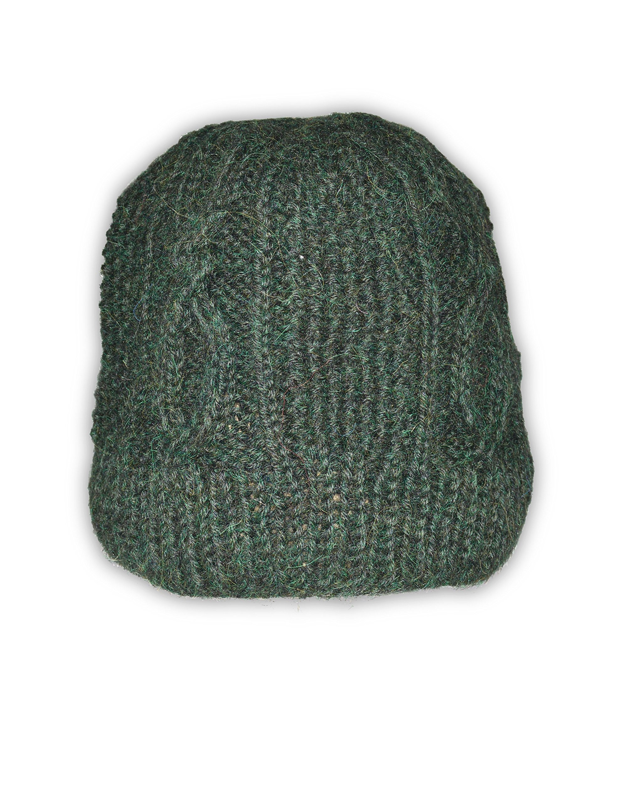 Invisible World Women's 100% Alpaca Wool Hand Knit Cabled Beanie Hat Dark Green