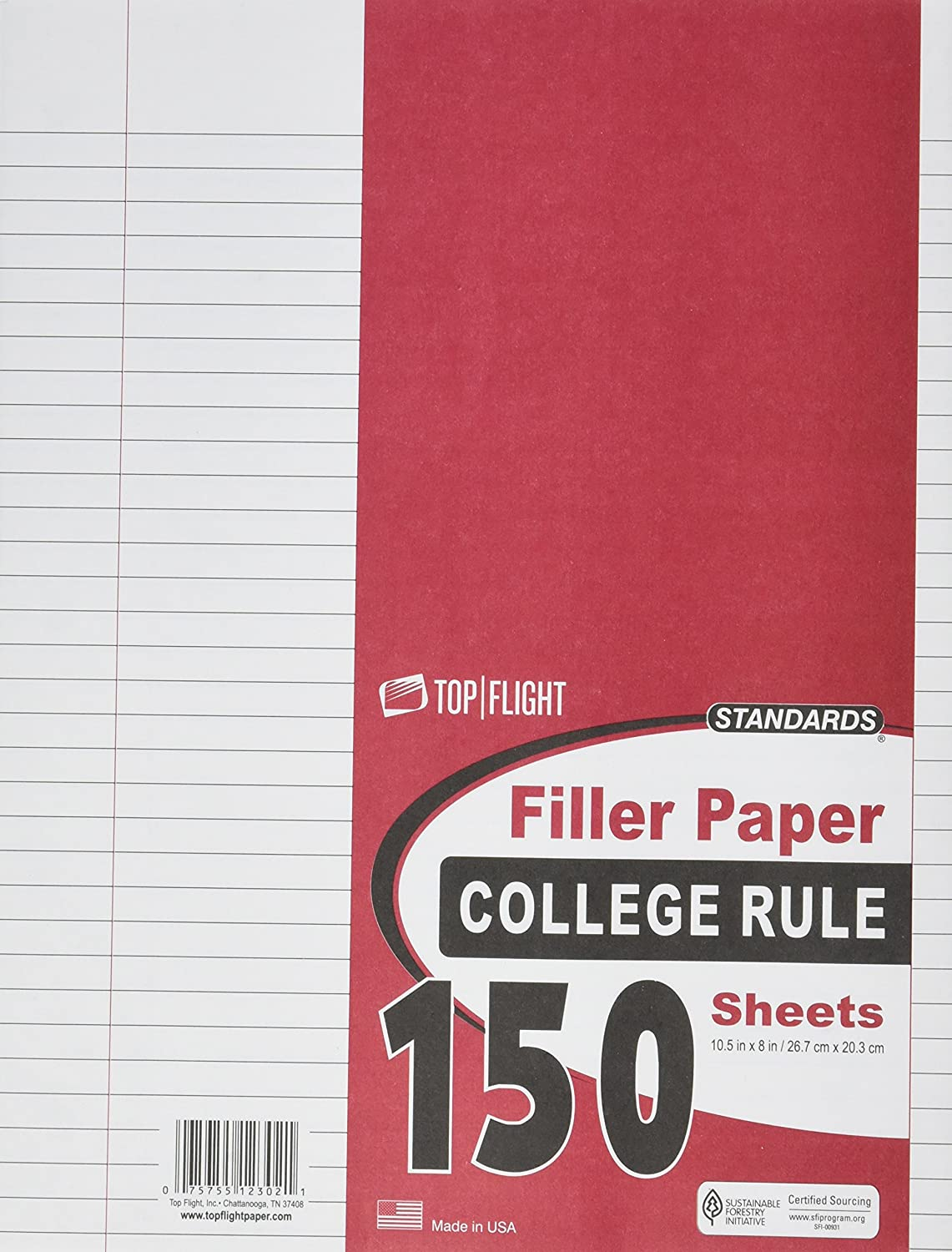 Top Flight 12302 Filler Paper, 10.5 x 8-Inches, College Rule, 150 Sheets (White) Topflight Inc.