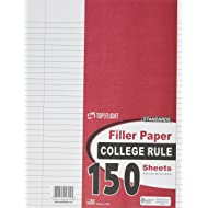 Top Flight Filler Paper, 10.5 x 8 Inches, College Rule, 150 Sheets (12302)