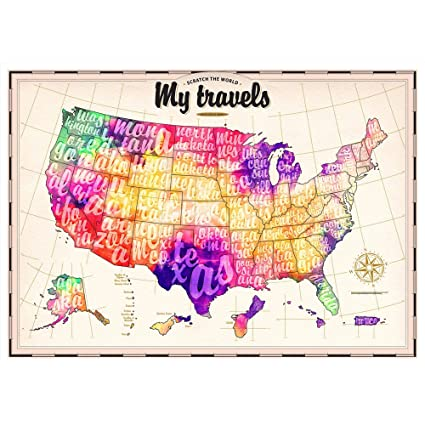 Amazon.com: Scratch Off Map - US Watercolor Edition - 30 pack ...