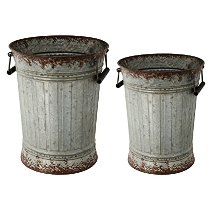 Au0026B Home 39692 Rustic Metal Garden Buckets With Handles, ...