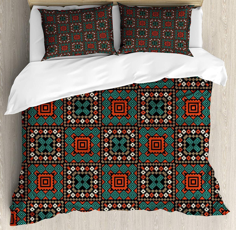 エスニックキングサイズ羽毛布団カバーセット、幾何学的な詳細を持つネイティブアメリカンの飾りボヘミアの古代文化的なデザイン、2枕シャムと装飾的な3ピースの寝具セット、多色 B07PWRXNP9 A07 King 210 X 210 cm