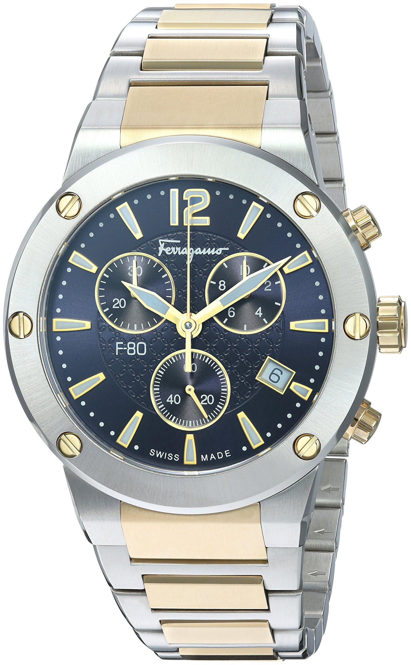 Salvatore Ferragamo Men's 'F-80' Swiss Quartz Stainless Steel Casual Watch, Color:Two Tone (Model: FIJ070017)