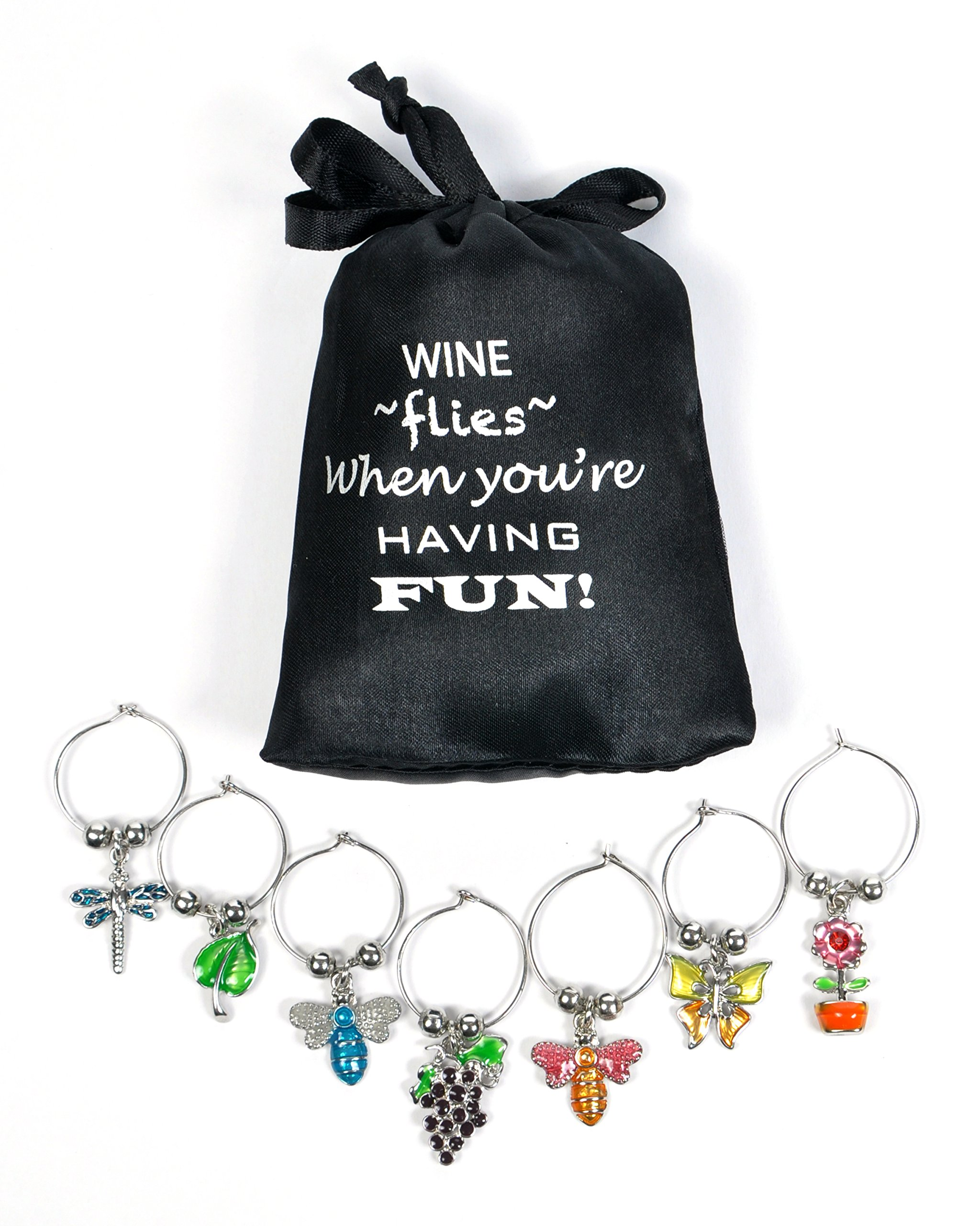 Flowers & Insects Wine Glass Charms, Hand Painted - Set of 7 with Sateen Storage Bag