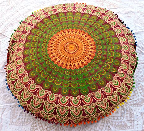Traditional Jaipur Mandala - Cojín de Suelo Decorativo ...