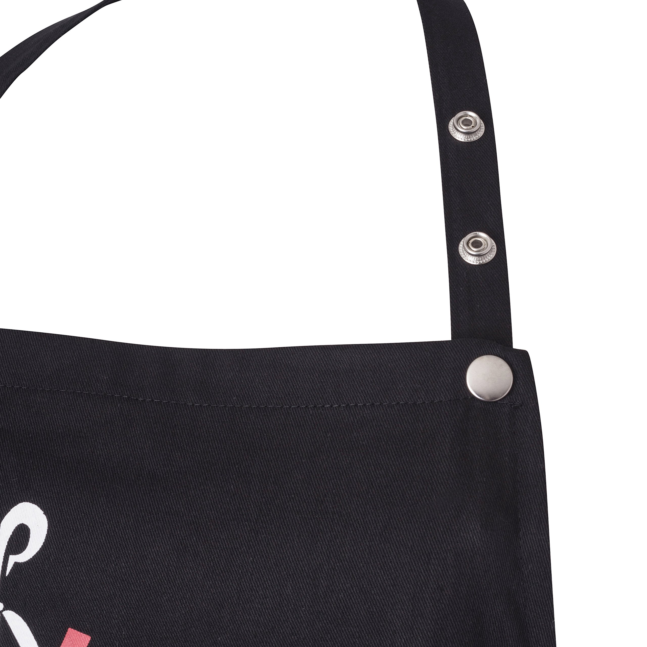 Snap Closure Bib Apron for Hairdresser, Hair Designer, Hair Care Professionals by the Professional Team of Hairday Care (Black)