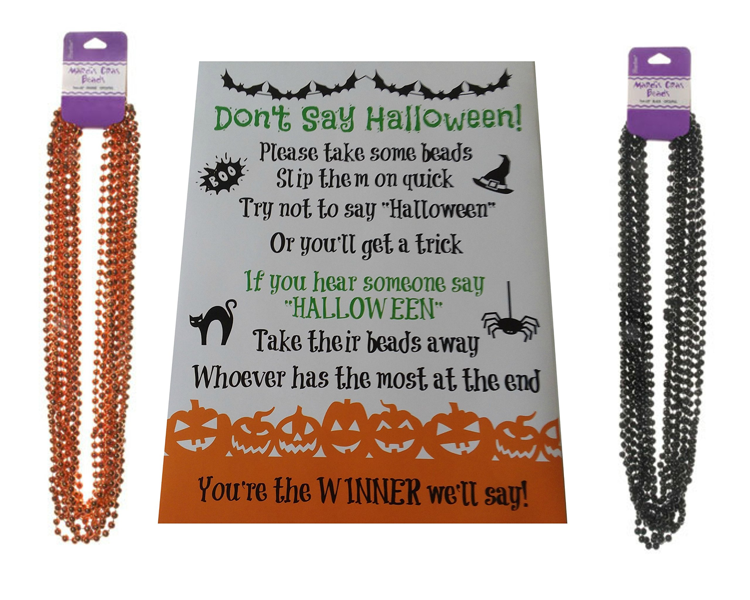 Don't Say Halloween Party Game- For All Ages, Great for Kids and Adults - With Black and Orange Necklaces for 24 Players
