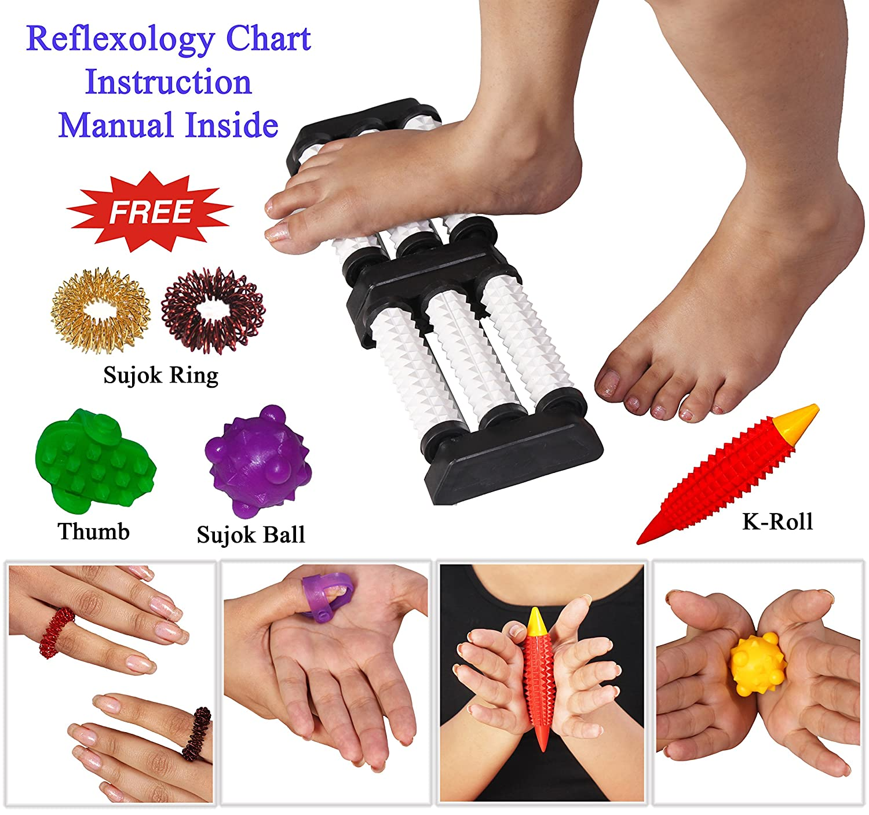 Masajeador Doble acupresión del pie con pinchos Rodillos Alivio del estrés aumentar