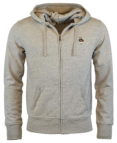 Amazoncom Polo Ralph Lauren Mens Zip Up Fleece Bear Logo Hoodie