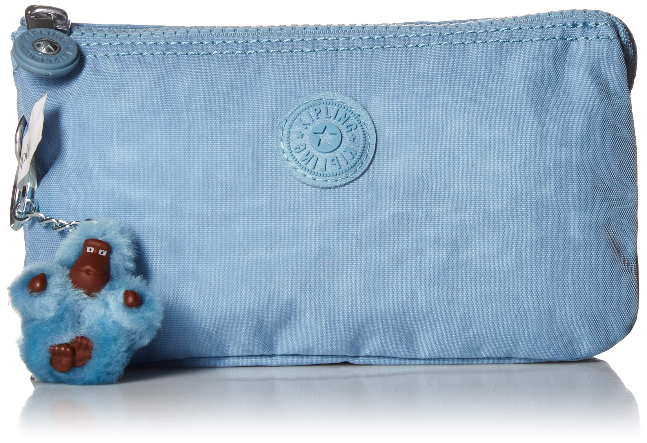 Kipling Women's Creativity Large Pouch, Multi Compartment, Zip Closure, blue beam tonal