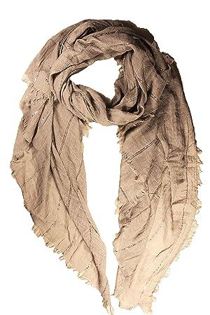 da549b34532 FERETI Grand foulard Marron clair à sequins paillettes broderies et franges  argent Echarpe