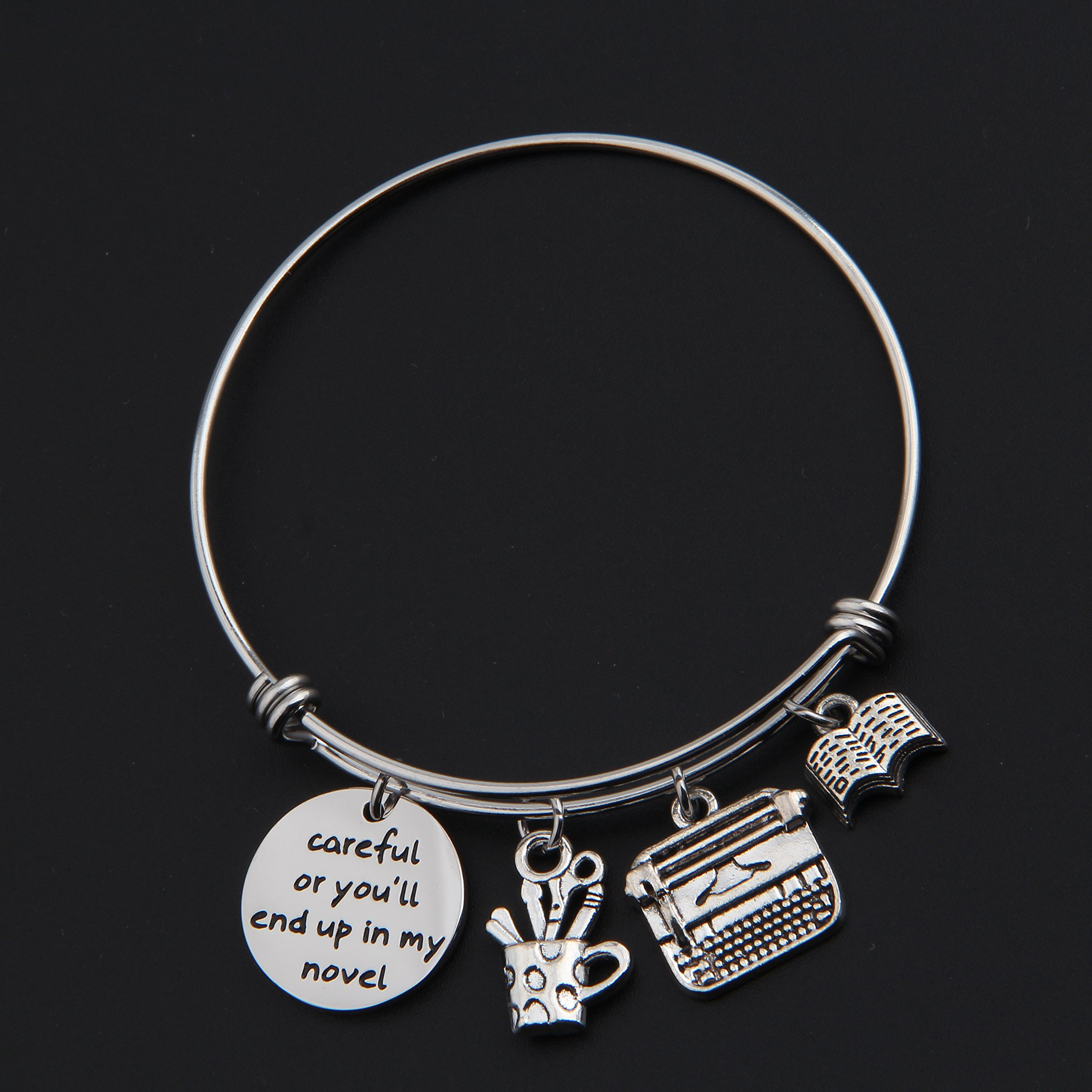 Gzrlyf Writer Bracelet Author Bracelet Writer Gift Novelist Gift Careful Or Youll End Up In My Novel Jewelry Writing Gift Author Jewelry (Writer bracelet) by Gzrlyf (Image #6)