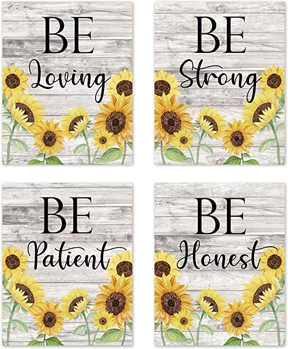 Farmhouse Wood Grain Yellow Sunflower Inspirational Sayings Rustic Wall Art Posters Home Decor Boho Floral Flower Vintage Country Prints Decorations Women Girls College Living Room Bathroom Nursery