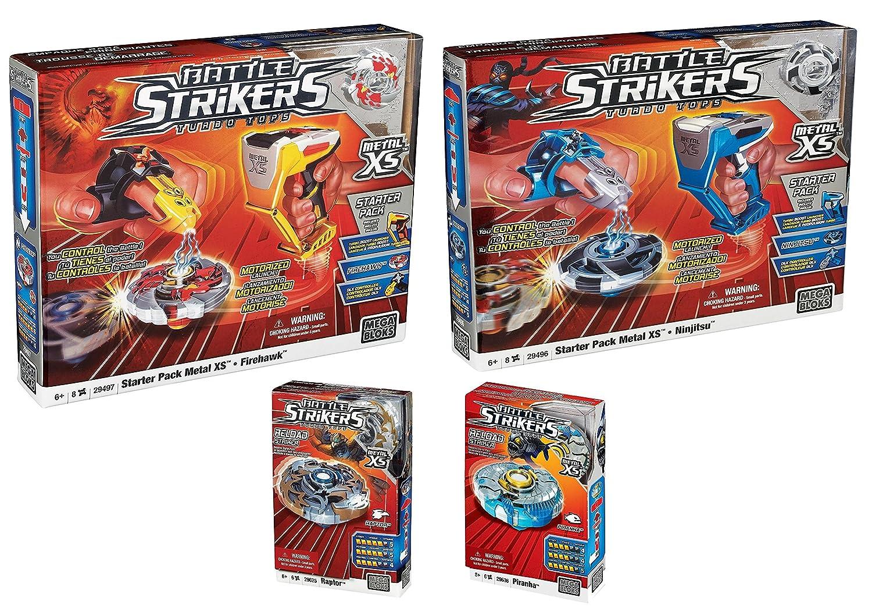 Battle Strikers Turbo Tops Metal XS Starter Pack Mega Bloks Firehawk Gifts Toy