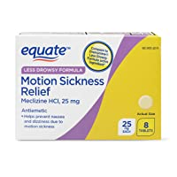 Equate Less Drowsy Motion Sickness Relief 25 mg - 8 Tablets